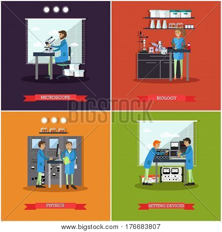 Vector set of research laboratories posters, banners. Microscope, Biology, Physics and Setting devices design elements in flat style.