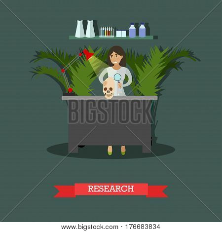 Vector illustration of archaeologist scientist female working at laboratory. Archaeological research concept design element in flat style.