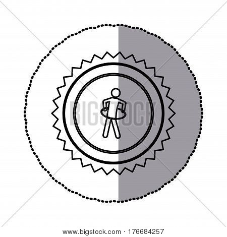 sticker of monochrome circular frame with contour sawtooth of pictogram with training in hula hoop vector illustration