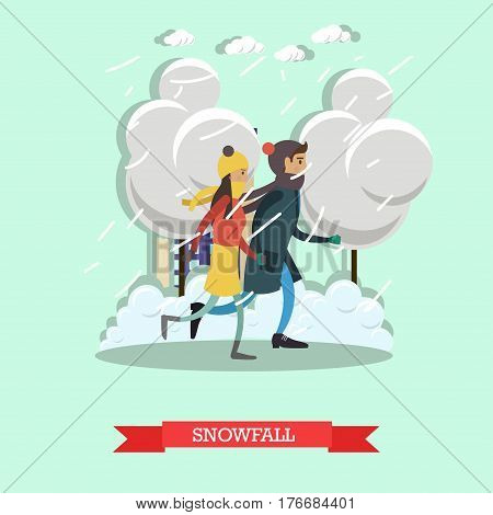 Snowfall concept vector illustration. Winter weather with heavy snowfall and wind. Young couple boy and girl walking in the street, flat style design.