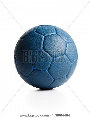 Blue leather ball on white background