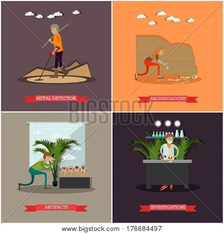 Vector set of archaeology concept posters. Metal detector, Archaeologist, Artifacts and Research design elements in flat style