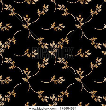 Seamless pattern with gold flowers on a black background