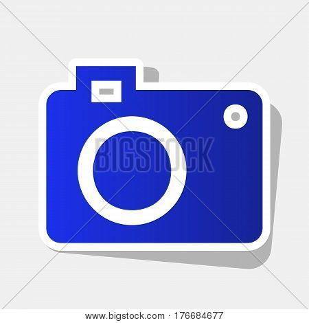 Digital camera sign. Vector. New year bluish icon with outside stroke and gray shadow on light gray background.