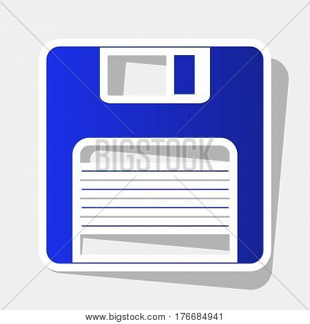 Floppy disk sign. Vector. New year bluish icon with outside stroke and gray shadow on light gray background.