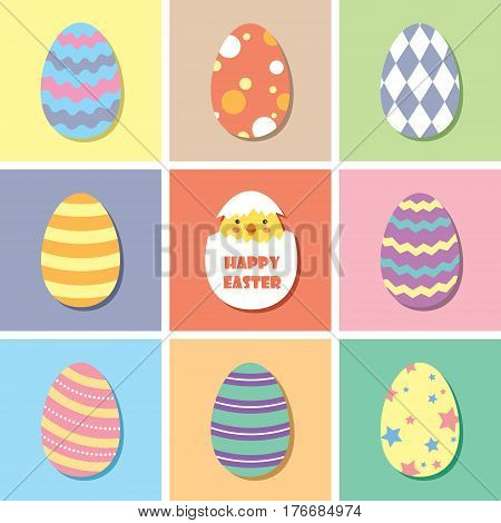 Happy Easter / Vector set of colourful Easter egg and lovely chick / Set of Easter egg in flat design.