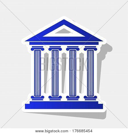 Historical building illustration. Vector. New year bluish icon with outside stroke and gray shadow on light gray background.