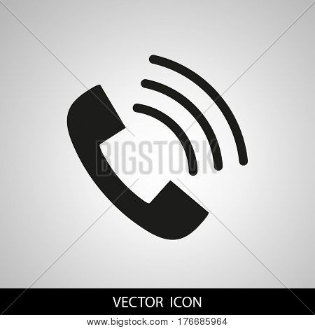 Phone icon in trendy flat style isolated on grey background. Handset icon with waves. Telephone symbol for your design, logo. Vector illustration.