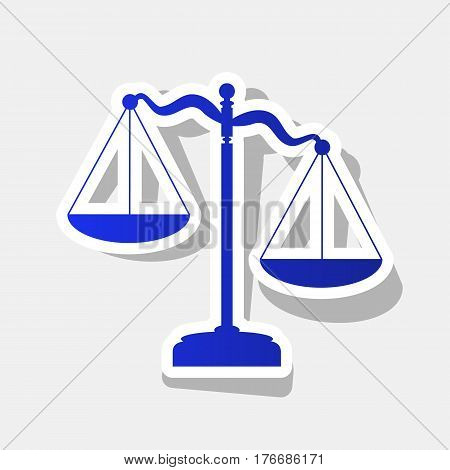 Scales of Justice sign. Vector. New year bluish icon with outside stroke and gray shadow on light gray background.