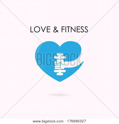 Heart sign and dumbbell icon.Fitness and gym logo.Healthcaresportmedical and science symbol.Healthy lifestyle vector logo template.Vector illustration