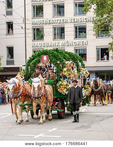 Munich,Germany-September 19,2015:A brewery carriage at the Brewers' parade at the start of the Oktoberfest