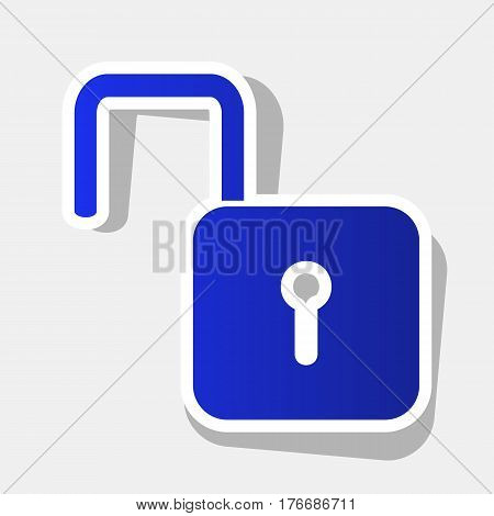 Unlock sign illustration. Vector. New year bluish icon with outside stroke and gray shadow on light gray background.