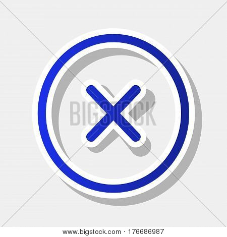 Cross sign illustration. Vector. New year bluish icon with outside stroke and gray shadow on light gray background.