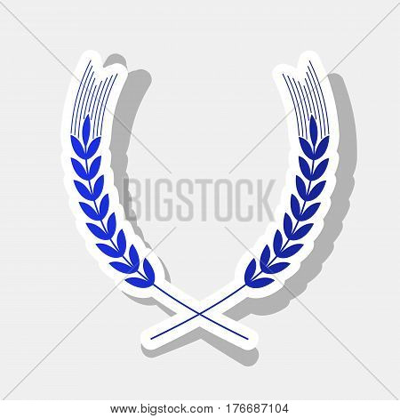 Wheat sign illustration. Spike. Spica. Vector. New year bluish icon with outside stroke and gray shadow on light gray background.