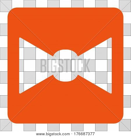 Bow Tie interface icon. Vector pictograph style is a flat symbol perforation in a rounded square shape, orange color.