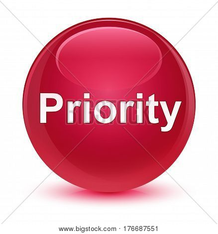 Priority Glassy Pink Round Button