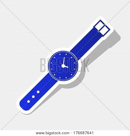 Watch sign illustration. Vector. New year bluish icon with outside stroke and gray shadow on light gray background.