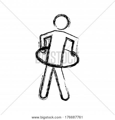 monochrome sketch of training in hula hoop vector illustration