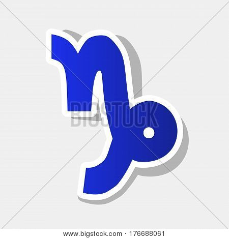 Capricorn sign illustration. Vector. New year bluish icon with outside stroke and gray shadow on light gray background.