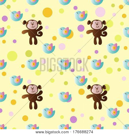 seamless pattern with cartoon cute toy baby monkey bird and Circles on a light yellow background