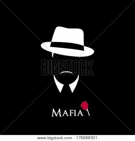 Italian Mafioso. Illustration Man with a hat mustache and collar. Black and white vector illustration.