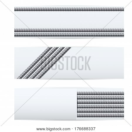 Rebars Induastrial banner template. Reinforcement steel for building. Industrial illustration Isolated on white background.