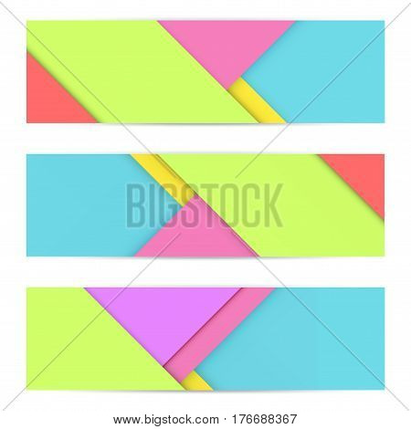 Colorful Banner of Unusual modern material design. Flat geometric style. Abstract  Illustration.