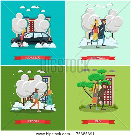 Vector set of weather concept posters. Snowdrift, Snowfall, Sledge and Rain flat style design elements.
