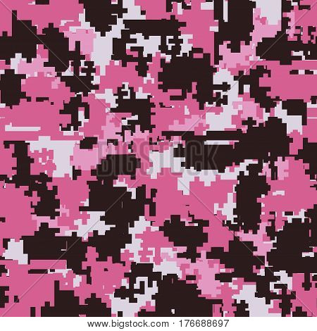 Digital pixel pink camouflage seamless patterns. Texture textile Illustration