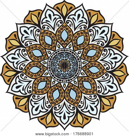 Drawing of a floral mandala in blue brown and light turquoise colors on a white background. Hand drawn tribal vector stock illustration