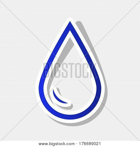 Drop of water sign. Vector. New year bluish icon with outside stroke and gray shadow on light gray background.