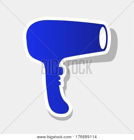 Hair Dryer sign. Vector. New year bluish icon with outside stroke and gray shadow on light gray background.