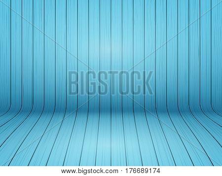 Curved wooden background interior. Blue color painted backdrop. Design Illustration.