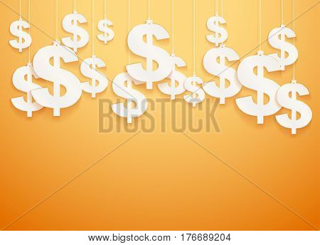 Bright Background of hung symbols Dollar with space for text. Business Illustration