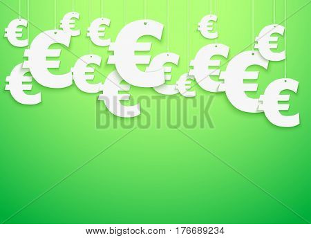 Bright Background of hung symbols Euro with space for text. Finance Illustration