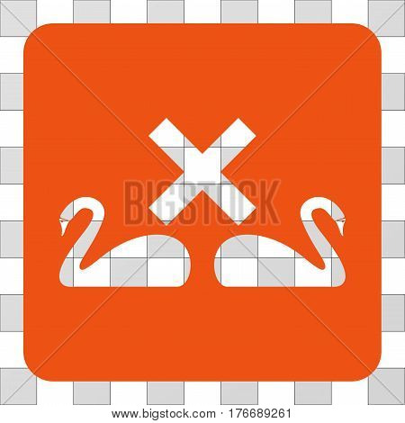 Divorce Swans square icon. Vector pictogram style is a flat symbol perforation inside a rounded square shape, orange color.