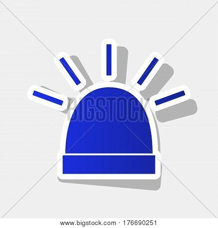 Police single sign. Vector. New year bluish icon with outside stroke and gray shadow on light gray background.