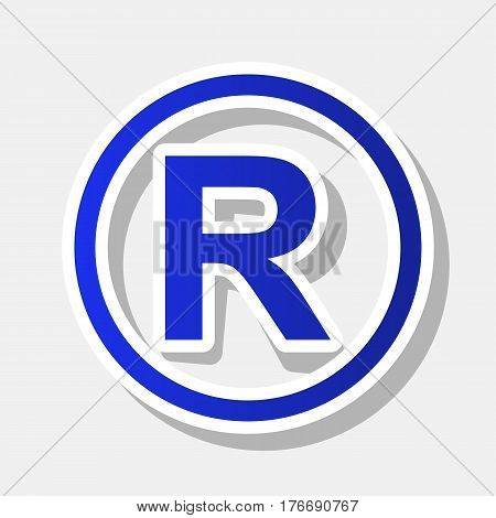 Registered Trademark sign. Vector. New year bluish icon with outside stroke and gray shadow on light gray background.