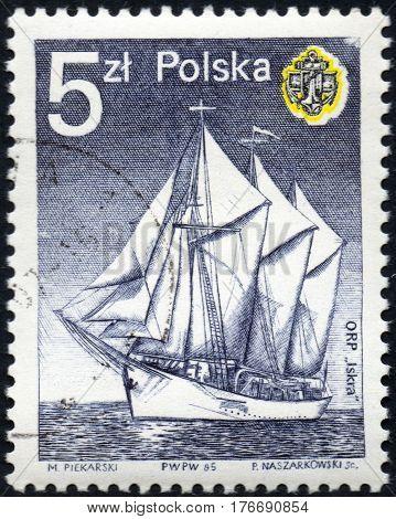 UKRAINE - CIRCA 2017: A stamp printed in Poland shows Spark sailboat circa 1985