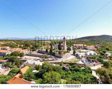 Aerial view Saint Ann parish church on Brac island in Croatia.
