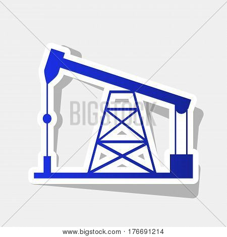 Oil drilling rig sign. Vector. New year bluish icon with outside stroke and gray shadow on light gray background.
