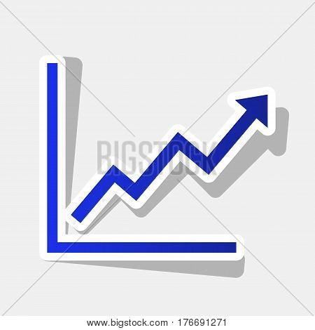 Growing bars graphic sign. Vector. New year bluish icon with outside stroke and gray shadow on light gray background.
