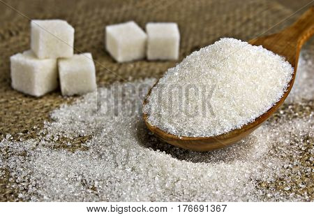 white sugar on the spoon,  tasty, natural