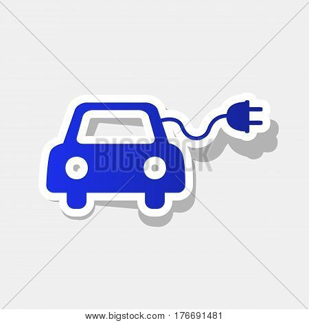 Eco electric car sign. Vector. New year bluish icon with outside stroke and gray shadow on light gray background.