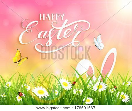 Ears of an Easter bunny and butterflies flying above the grass and flowers, pink nature background with sun beams and lettering Happy Easter, illustration.