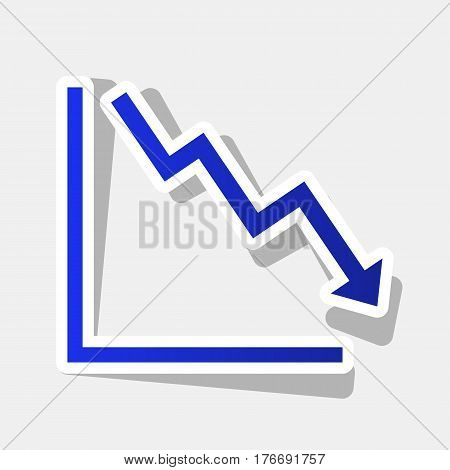 Arrow pointing downwards showing crisis. Vector. New year bluish icon with outside stroke and gray shadow on light gray background.