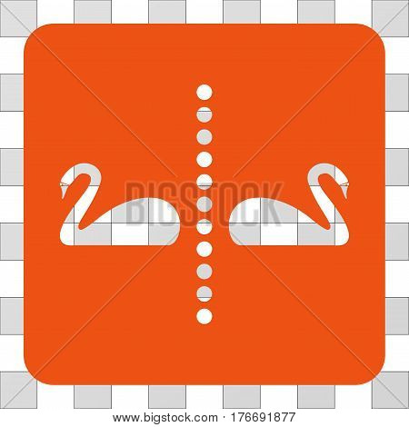 Separate Swans interface icon. Vector pictograph style is a flat symbol hole centered in a rounded square shape, orange color.