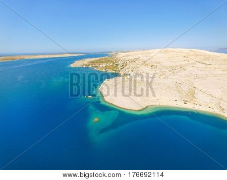 Aerial view of Drazica beach at island of Pag, Croatia.