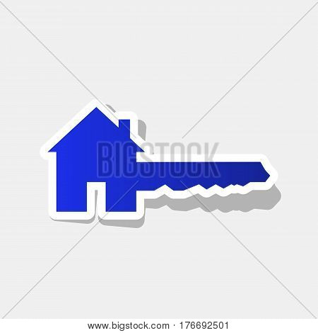 Home Key sign. Vector. New year bluish icon with outside stroke and gray shadow on light gray background.