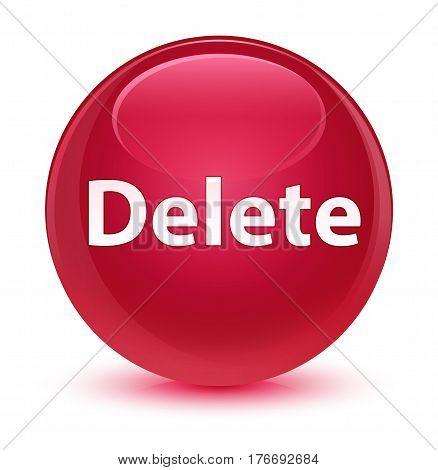 Delete Glassy Pink Round Button